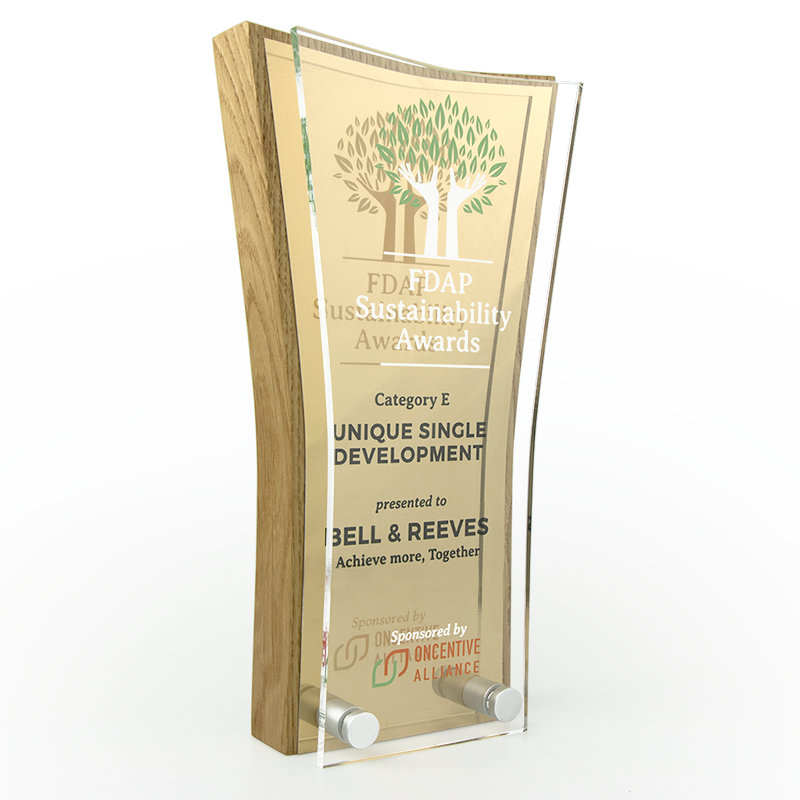 Swell Wood Block Award with metal plate and acrylic front