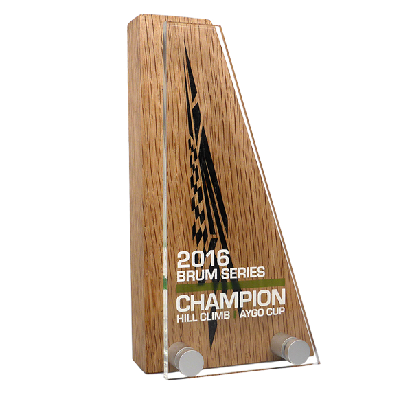 real wood block award with acrylic front