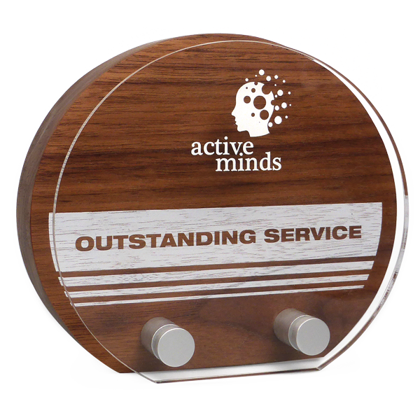 real wood sunrise award in walnut with acrylic front