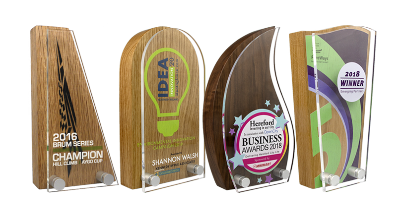real wood awards with acrylic front