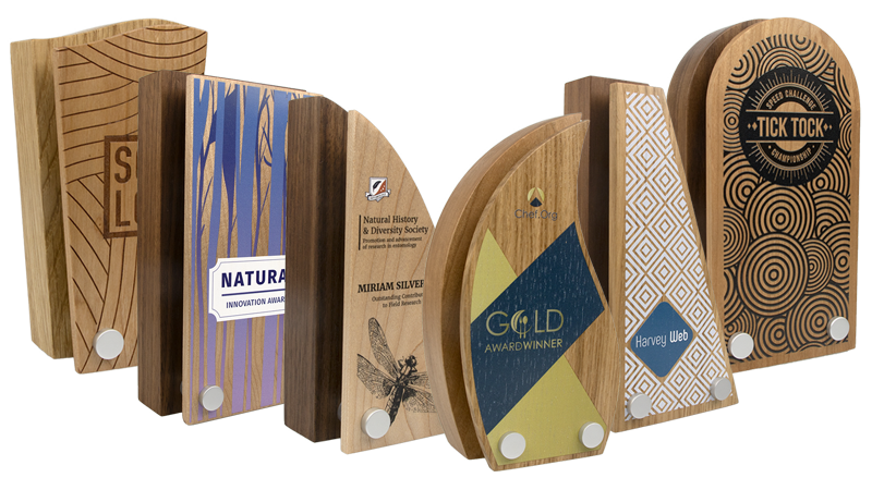 real wood block awards with contrasting wood front plate
