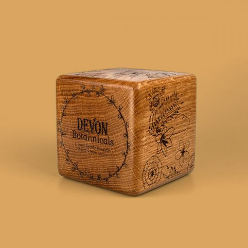 wood cube with bevelled edge oak engraved