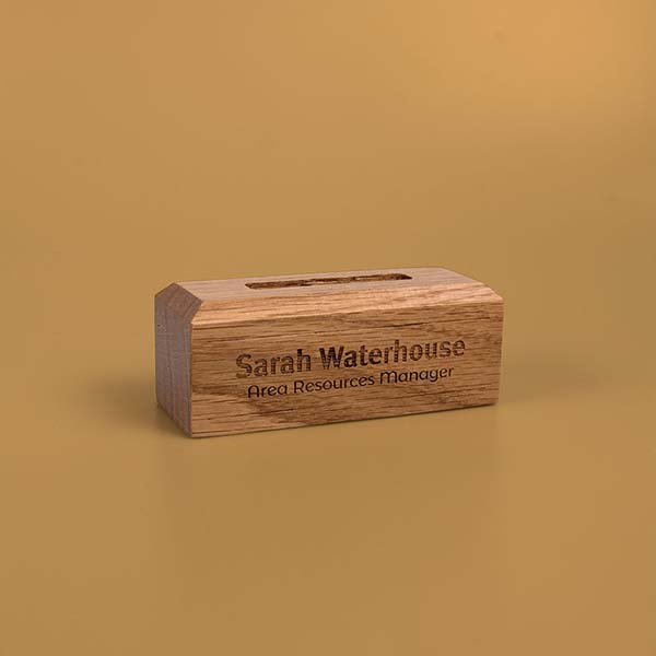 45mm personalised solid oak base for acrylic awards