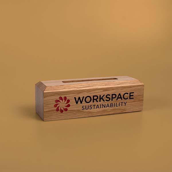 personalised solid oak base for acrylic awards