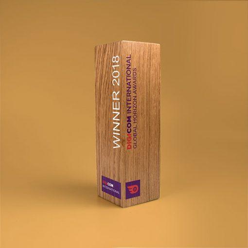 real wood column award oak small