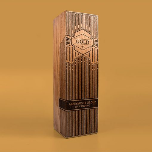 real wood column award walnut large