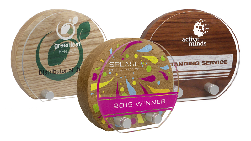 real wood sunrise awards with acrylic front
