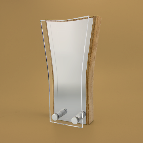 Wedge Wood Block Award with Metal Face Plate and Acrylic Front