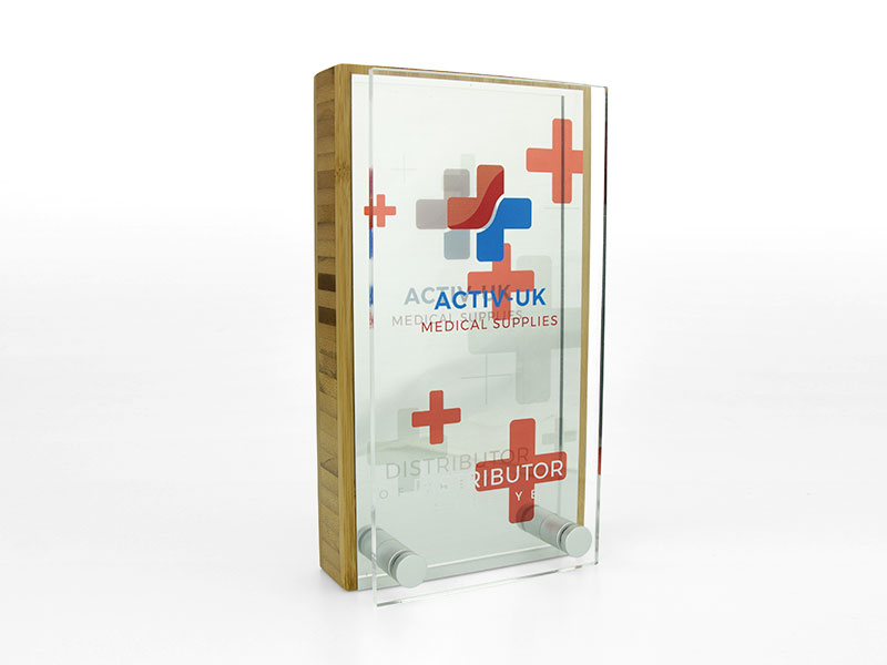 Bamboo Block Award with Metal Plate and Acrylic Front Oblong Silver