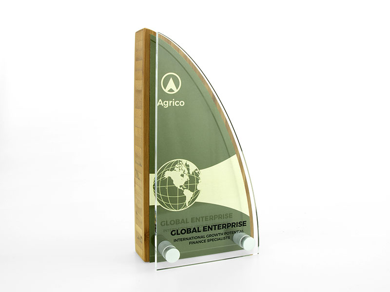 Bamboo Block Award with Metal Plate and Acrylic Front Sail
