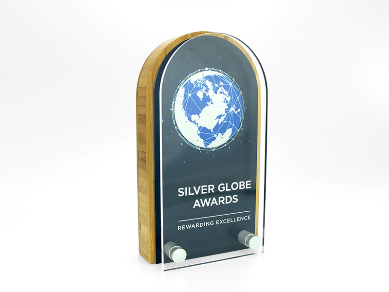 Bamboo Block Award with Metal Plate and Acrylic Front Arch