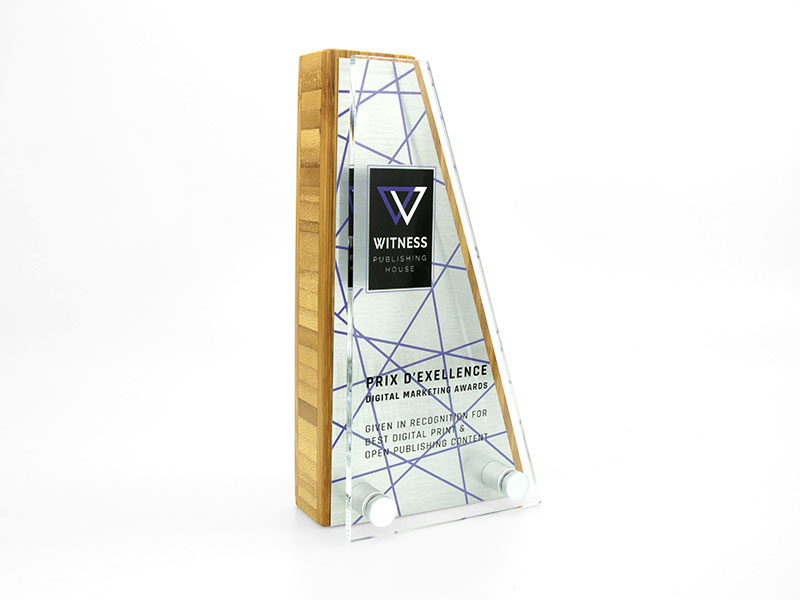 Bamboo Block Award with Metal Plate and Acrylic Front Wedge