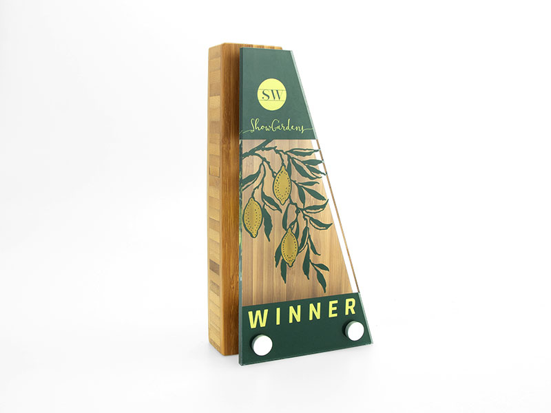 Bamboo Block Award with Acrylic Front - Wedge