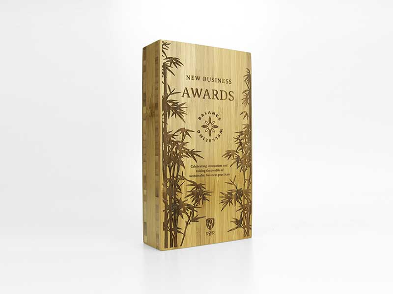 Bamboo Block Award large engraved