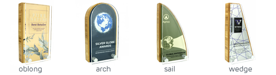 Bamboo Block Awards with Metal Plate and Acrylic Front 4 x Shapes